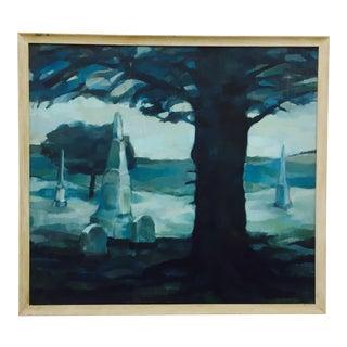 Vintage Original Blue Abstract Landscape in Frame