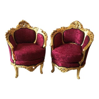 Baroque Style Demilune Back Chairs - a Pair