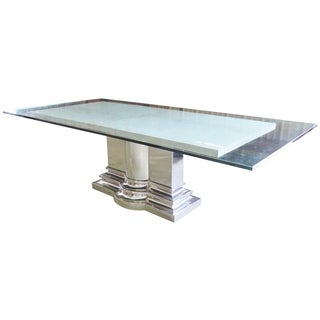 Brueton Column Base Glasstop & Marble Dining Table