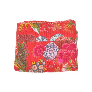 Red Floral Kantha Throw - A Full