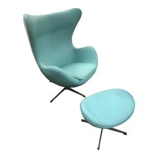 Mid Century Modern Arne Jacobsen Style Powder Blue Egg Chair & Ottoman