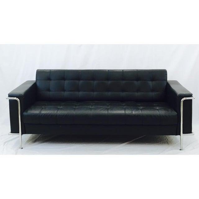 Vintage Leather & Chrome Sofa - Image 2 of 6