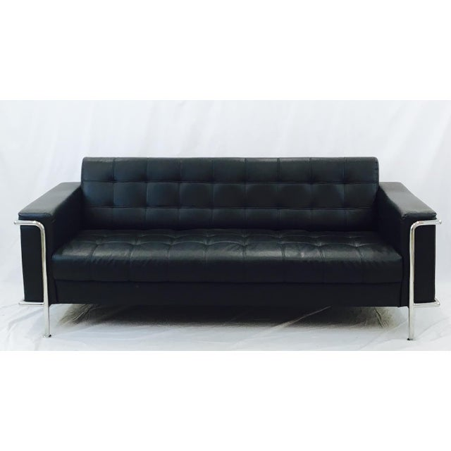 Image of Vintage Leather & Chrome Sofa