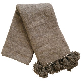 Moroccan Brown Pom Pom Wool Blanket
