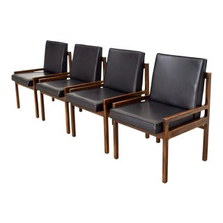 Mid Century Black Solid Wood Dining Chairs - Set of 4