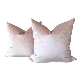 Pale Pink Velvet Pillows - A Pair