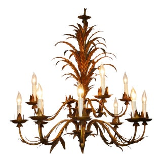 Gilt Metal Twelve-Light Leaf Design Chandelier
