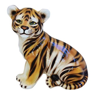 Mid-Century Hand-Painted Italian Tiger