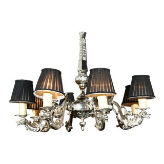 French Silver Over Bronze 8-Arm Chandelier