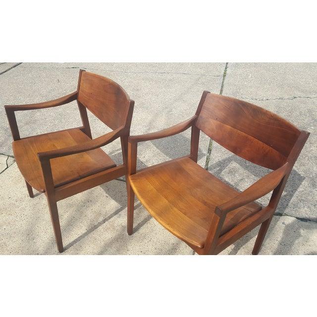 Mid-Century Walnut Gunlocke Chairs - Pair - Image 5 of 11