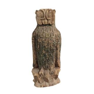 Vintage Wood Owl Statue