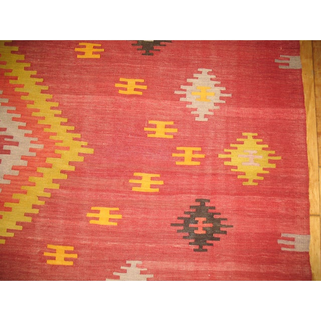 Vintage Red & Yellow Kilim Rug - 8'8'' X 11'8'' - Image 5 of 6