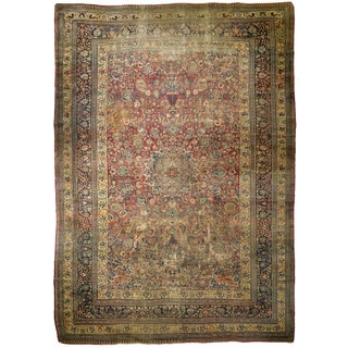 "Distressed Antique Persian Mashad Rug - 11'0"" x 17'0"""