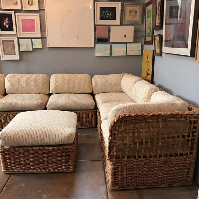 Vintage Rattan Sectional Sofa Set - Image 6 of 11