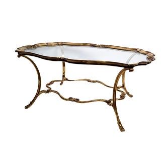 French Bronze & Glass Top Coffee Table