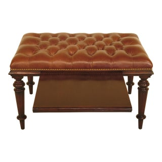 Theodore Alexander Tufted Leather Ottoman Table