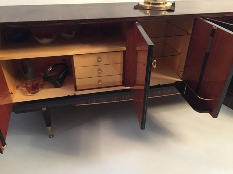 French Art Deco Macassar Ebony Buffet With Center Dry Bar   Image 7 Of 10