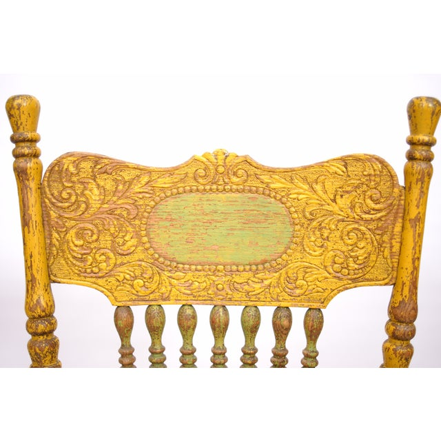 Antique Yellow Painted Chair - Image 6 of 6