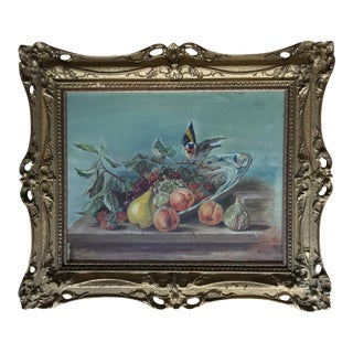 Antique Original Painting of Fruit and Bird