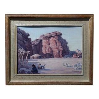 Conrad Buff Native American Camp Original Oil Painting