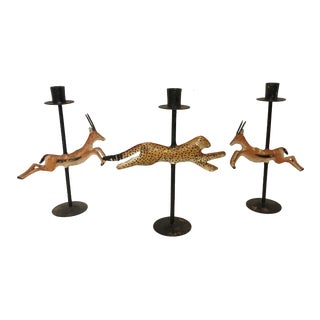 Vintage Gazelle and Cheetah Candle Holders - Set of 3