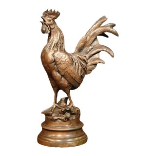 19th Century French Patinated Spelter Crowing Rooster Sculpture on Round Base