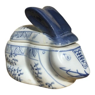 Vintage Blue & White Chinoiserie Rabbit Box