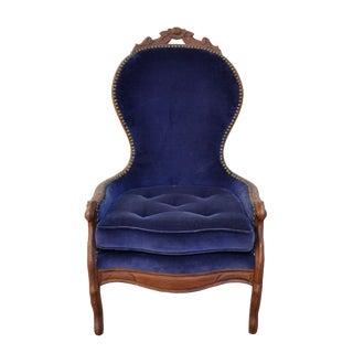 19th Century Antique Blue Velvet Walnut Chair