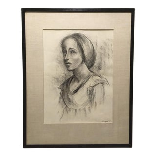 1935 Large Mid Century Pensive Woman Charcoal Portrait Drawing