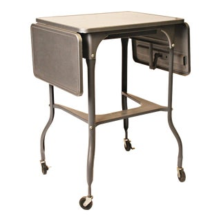 Industrial Gray Metal Double Drop Leaf Typewriter Table