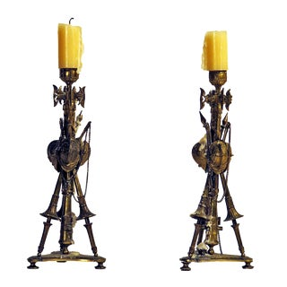 French Gilt Military Trophy Candlesticks c.1850 - A Pair