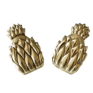 Vintage Brass Pineapple Clips/Letter Holder - Pair