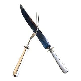 Sterling Fork & Carving Knife Set, Art Deco Silver Serving, Elegant Home Style