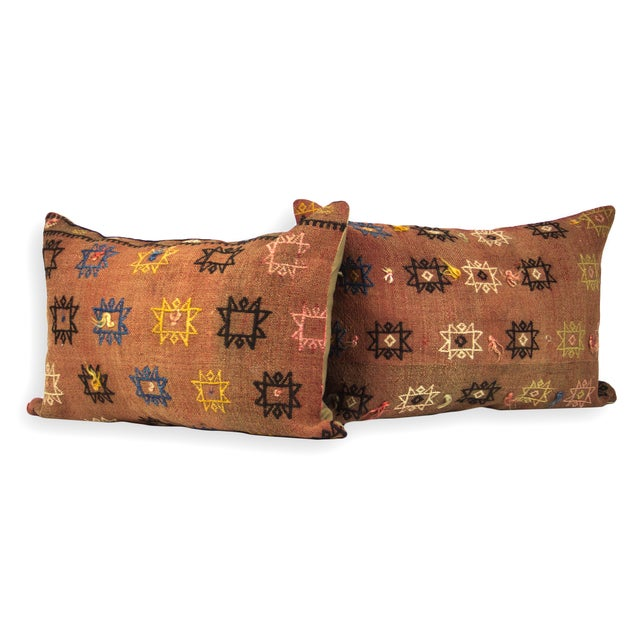Image of Rare Antique Kilim Lumbar Pillows - A Pair