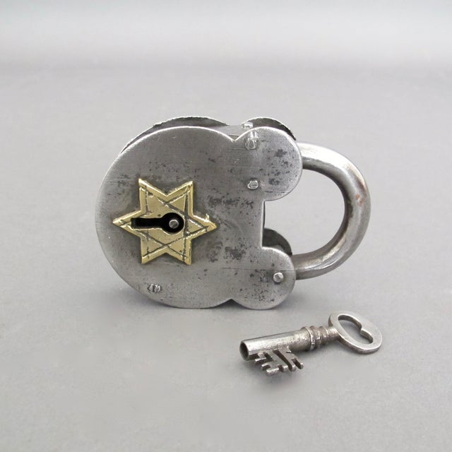 Steel & Brass Antique Padlock From England - Image 6 of 7