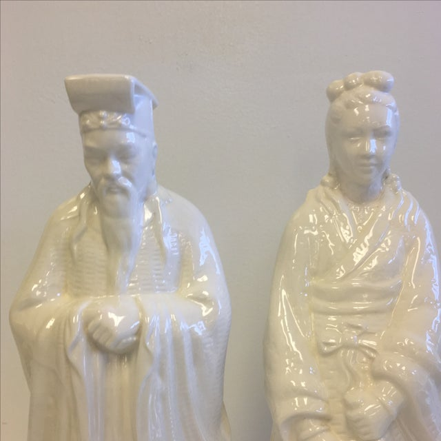 White Chinoiserie Statues - Pair - Image 3 of 11