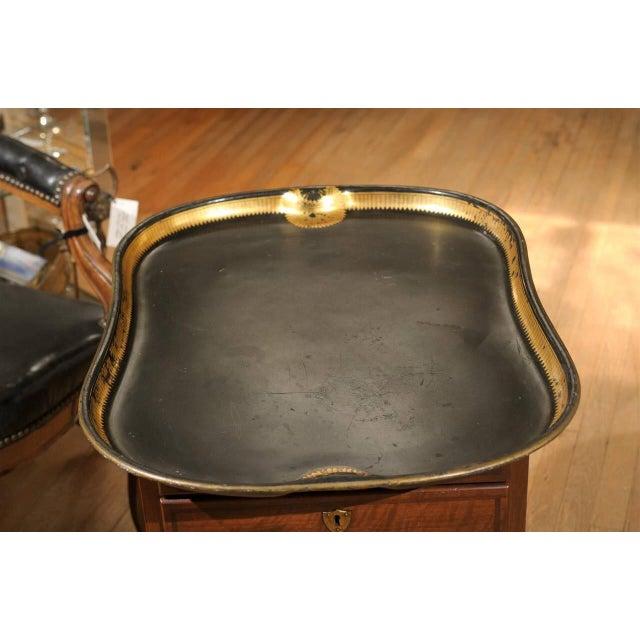 Vintage Regency English Black & Gilt Tole Tray - Image 5 of 6