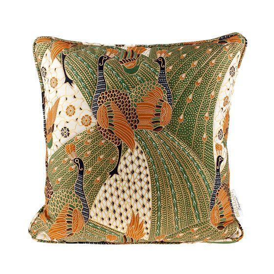 Image of Quilted Green Peacock Batik Throw Pillow