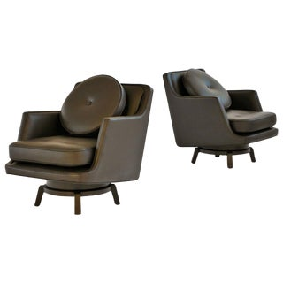 Pair of Edward Wormley Swivel Armchairs for Dunbar