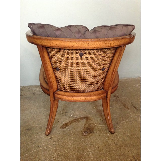 Caned and Upholstered Barrel Back Lounge Chair - Image 5 of 10