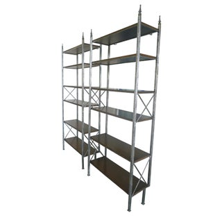 Mid-20th Century Iron and Oak Bookcases in the Style of Maison Jansen