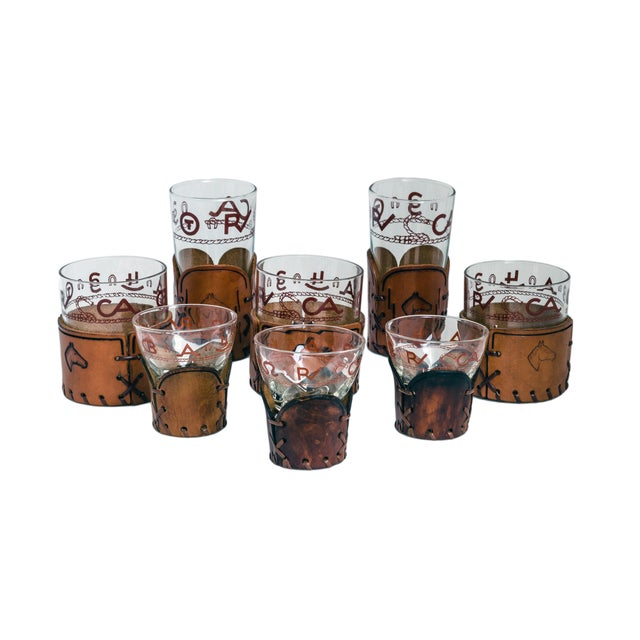 Vintage Glass and Leather Western Barware Set - 8 - Image 1 of 5