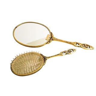 Vintage 24K Gold Plated Mirror & Brush Vanity Set