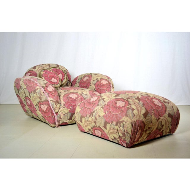 Phyllis Morris Floral Swivel Lounge Chair With Ottoman - Image 2 of 4
