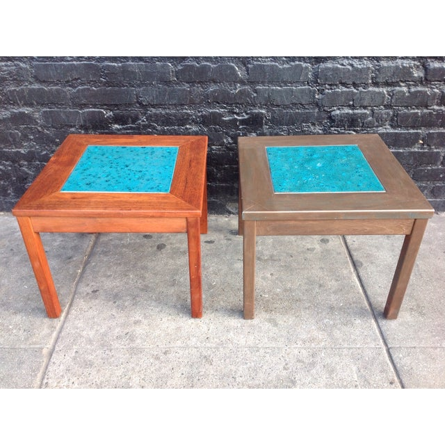 Mid-Century Brown Saltman Side Tables - A Pair - Image 2 of 7