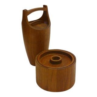 1960s Jens Quistgaard Staved Teak Dansk Ice Buckets - a Pair