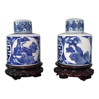 Blue and White Double Happiness Vases - A Pair
