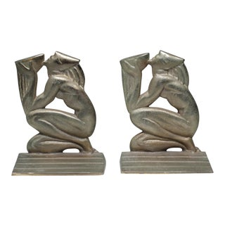 Rockwell Kent Art Deco Metal Bookends - A Pair