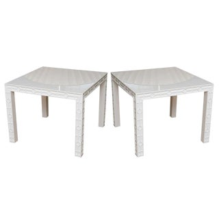 Pair of White Lacquered Graphic and Sculptural Side or End Tables