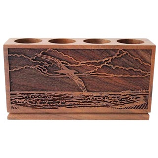 Midcentury Carved Pencil Holder